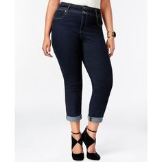 Style & co. Plus Size High-Waist Jeans Stream Wash ($42) ❤ liked on Polyvore featuring plus size fashion, plus size clothing, plus size jeans, stream, style & co., plus size white jeans, highwaist jeans, womens plus size jeans and high-waisted jeans