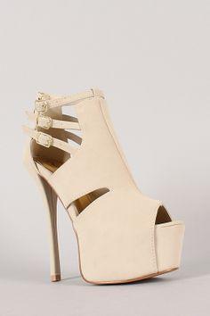 Qupid Pinch-14 Nubuck Buckle Peep Toe Stiletto Platform Heel