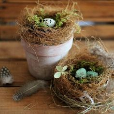 Learn how to make realistic looking bird's nest using free materials from your g. Learn how to make realistic looking bird's nest using free materials from your garden. Perfect for Spring and Easter Oster Dekor, Bird Nest Craft, Bird Nests, Pot Pourri, Diy Ostern, Deco Floral, Bird Cages, Clay Pots, Spring Crafts