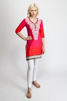 Pink/Red embroidered tunic