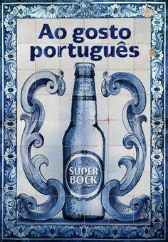 Super Bock beer ad in azulejo, Portugal