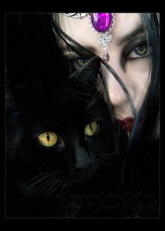 goth with black cat