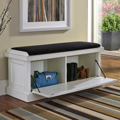 Home Styles Nantucket Upholstered Entryway Bench