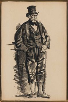 Artwork by George Bellows, Older Gentleman with a Top Hat and Pipe, Made of Conte crayon on paper
