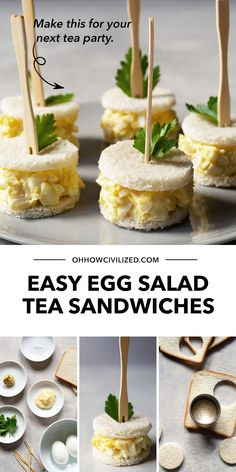 Make tea time more enjoyable with bite-sized egg salad tea sandwiches! A basic egg salad sandwich is made of white bread, chopped hard-boiled eggs, and mayonnaise. In my recipe, I give these sandwiches an extra zing with dijon mustard and Japanese mayonnaise. Learn how to make these at home - click to follow the guide! High Tea Sandwiches, Egg Salad Sandwiches, Sandwich Recipes, Delicious Sandwiches, Snack Recipes, Easy Egg Salad, Afternoon Tea, Hot Tea Recipes, Tea Time Snacks