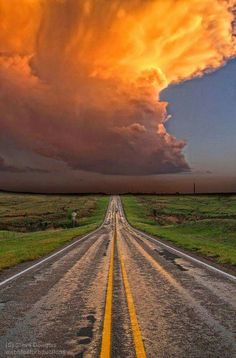 Thunder Road. Storm in the Texas Panhandle, just south of Groom.   Photograph by Steve Douglass