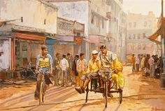 North India street scene, oil painting on canvas by Dominique Amendola. Here is a scene of Varanasi streets in North India. It is late afternoon and the shadows are lengthening. A bicycle Rickshaw is passing a cyclist and in the background groups are forming. It is tea time and the tea shop in the back is busy.