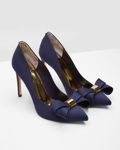 Statement bow court shoes - Dark Blue | Shoes | Ted Baker