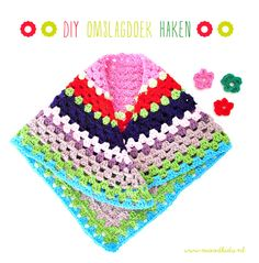 cute and simple triangular granny shawl for kids, with three rows of edging (2 green, one blue) crocheted after completion of triangle. check out my grown up version: http://www.creativejewishmom.com/2013/03/crocheted-granny-triangular-shawlsuper-simple.html