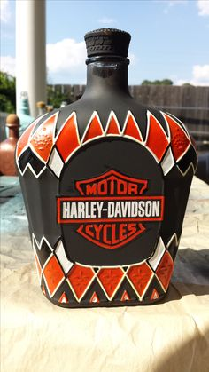Outstanding Harley Davidson images are readily available on our site. Have a look and you wont be sorry you did. Liquor Bottle Crafts, Diy Bottle, Liquor Bottles, Bottles And Jars, Glass Bottles, Mosaic Bottles, Alcohol Bottles, Crown Royal Bottle, Crown Royal Bags