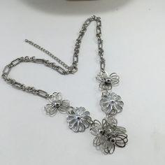 Floral Statement Assemblage Necklace Silvertone Flower by ravished
