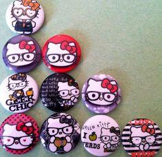 Hello Kitty Nerds 1 inch round flat back by Buttonbonanza702, $5.00