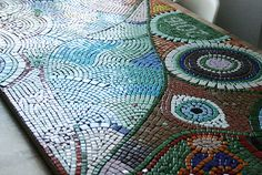 Mosaiktisch, Mosaictable, table, Terassentisch, Mosaik, Mosaic Red Apple, Bunt, Blanket, Crochet, Mosaics, Mosaic Stones, House Exteriors, Diy, Projects