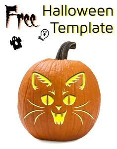 Vampire cat template for pumpkin carving and other Halloween decorations