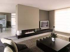 Love the low fireplace Living Room Tv, Cozy Living Rooms, Home And Living, Fireplace Wall, Fireplace Design, Luxury Homes Interior, Home Interior Design, Stone House Plans, House Extension Design