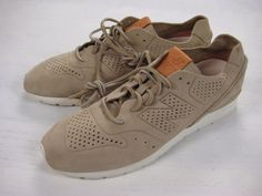 "New Balance ""Tokyo Deconstructed 696"" nubuck leather running shoes in Tan size 11.5."