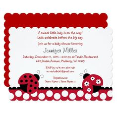 Ladybug Baby Shower Invitation Cute