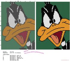 Colored cross stitch tile with Daffy Duck face