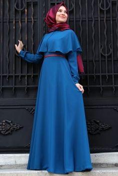 Mevra - Petrol Mavisi Pelerin Elbise