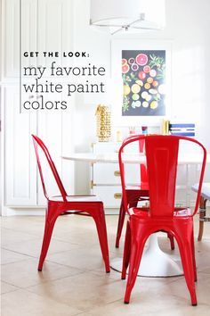 Breakfast Nook Update w/ Serena & Lily Riviera Bench White Paint Colors, Favorite Paint Colors, White Paints, Vintage Interiors, Red Interiors, Kitchen Island Bench, Room Colors, Cool Kitchens, Decoration