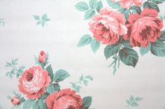 1930's Vintage Wallpaper Large Cabbage Rose bouquets