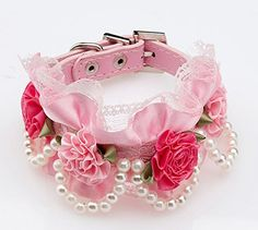 Lovely Baby Beaded Dogs Collars Cute Puppies Lace Flower Design ZQ-QS014-PINK-S - http://www.thepuppy.org/lovely-baby-beaded-dogs-collars-cute-puppies-lace-flower-design-zq-qs014-pink-s/
