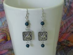 Silver Bird and Bead Earrings by PlanetQ on Etsy