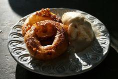 Fried apple donut with cardamom caramel sauce and vanilla ice cream. #fried #dessert #apples #autumn
