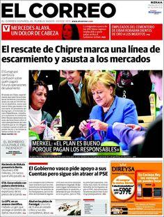 Los Titulares y Portadas de Noticias Destacadas Españolas del 26 de Marzo de 2013 del Diario El Correo ¿Que le parecio esta Portada de este Diario Español?