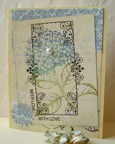 I <3 this!  This one uses one of my favorite stamps all time, the Hydrangea from Hero Arts.  Another one of Jacqueline's cards from her blog:  http://myscrapbasket.blogspot.com/search?updated-max=2012-02-21T19:46:00%2B01:00&max-results=7