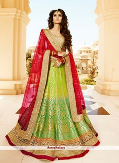 Titillating Banarasi Silk Green Resham Work A Line Lehenga Choli
