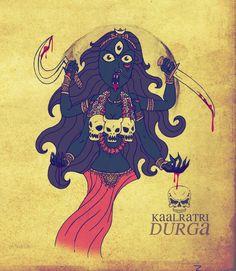 The seventh day of Navratri pooja is dedicated to Kaalratri Durga and she is considered the most violent formof Goddess Durga. Kaalratri is the one of the fiercest forms of Durga and her appearance. Durga Ji, Saraswati Goddess, Kali Goddess, Mother Goddess, Goddess Art, Durga Painting, Madhubani Painting, Sanskrit Symbols, Maa Durga Image