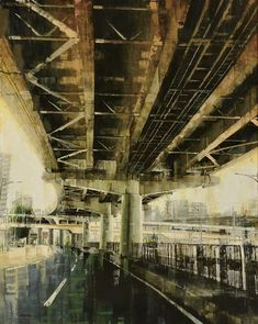 油彩 f100 「Structure」 木原幸志郎 高架下
