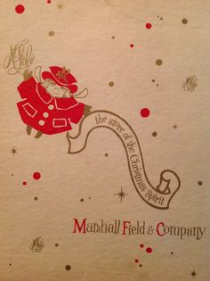Front cover of a Xmas box from Marshall Field's with Uncle Mistletoe  character
