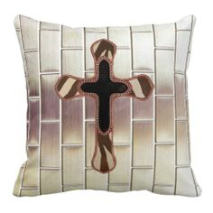 Faux Metal Grid Steel with Cross Pillow