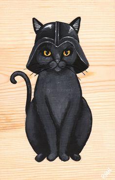 The Dark Side Original Cat Folk Art Portrait by KilkennycatArt
