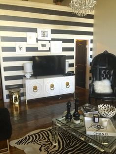 Glam black and white living room in my open loft  Hauteriors, LLC
