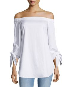 Tie-Sleeve Poplin Off-the-Shoulder Tunic, White, Size: 12, WHITE - Tibi