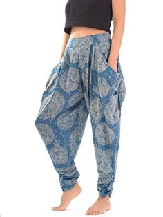 Premium Ladies Baggy Trousers | Hippie Aladdin Harem pants for Women | Thai Flowers & Drops Print | 5 Colours | Hippie Trousers | Harem Trousers | Thai Trousers | Ladies Hippie Boho Pants | Bohemian Trousers | Indian Thai Buddhist Print | Yoga Pants for Women | Ladies Yoga Trousers | indoor trousers | sexy trousers women | pyjamas for women (Pastel Blue) Nirvana & Papaya http://www.amazon.com/dp/B00N6KJ76Y/ref=cm_sw_r_pi_dp_gQsWub17GF2S2