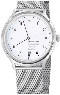 MONDAINE 'Helvetica No.1 Regular' Round Mesh Strap Watch, 40mm
