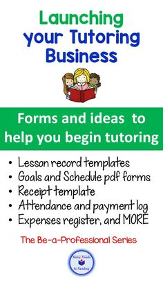 This resource is for the teacher who has done the preparation work for tutoring, has decided when and where to tutor, and has at least one student. Happy tutoring! Tutoring Business, Bookkeeping Business, Business Writing, Reading Tutoring, Reading Intervention, Think Education, Kids Education, Jobs For Former Teachers, Beginning Reading