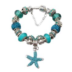 Starfish and Daisies Crystal European Charm Bracelet