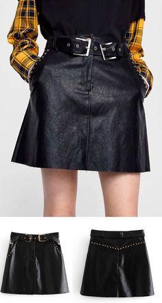 6f8fbca3d9 Black High Waist Stud Embellished Women PU Mini Skirt Latest Fashion For  Women, Waist Skirt
