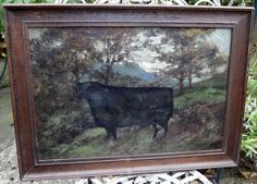 19TH CENTURY Naive Oil on Canvas of a BULL IN A FIELD