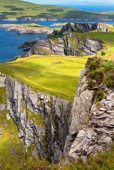 Cliffs of Kerry Kerry cliffs with view to Valentia Island, County Kerry, Ireland