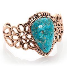 "Studio Barse Kingman Turquoise Floral Copper 7"" Cuff Bracelet at HSN.com"