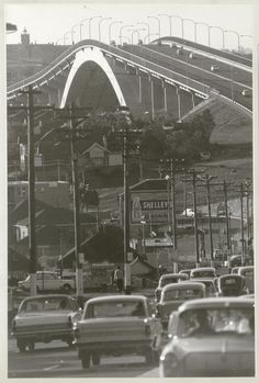 and line of telegraph poles approach the Gladesville Bridge, Oct 1966 Gladesville Bridge ~ Bridge ~ 1966 Sydney City, Sydney Harbour Bridge, Australian Photography, Scenery Photography, Historical Pictures, Sydney Australia, Old Photos, The Neighbourhood, History