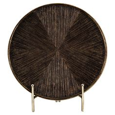 Add an artful touch to your entryway console table or living room mantel with this eye-catching charger and stand set, showcasing a ridged design and bronze ...