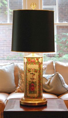 cordless antique asian chinoiserie porcelain and brass table lamp