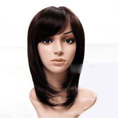 Sogood Cute Elegant Japanese Style Dark Brown Oblique Bangs Straight Medium Wigs For Women and Ladies Lace Front Wig Lace Wig Human Hair Wigs